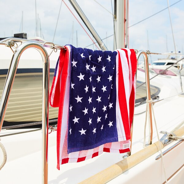 Dugad American Flag 100% Cotton Beach Towel by Ebern Designs